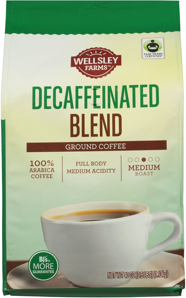 Wellsley Farms Decaffeinated Blend 100% Arabica Ground Coffee, Medium Roast, 40 oz