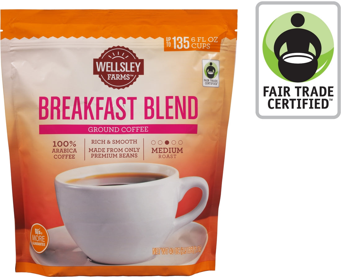 Wellsley Farms Breakfast Blend 100% Arabica Blend Coffee, Medium Roast, 40 oz