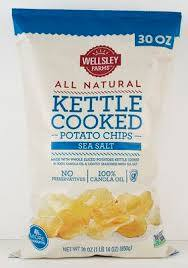Wellsley Farms All Natural Kettle Cooked Potato Chips, Sea Salt, 30 oz