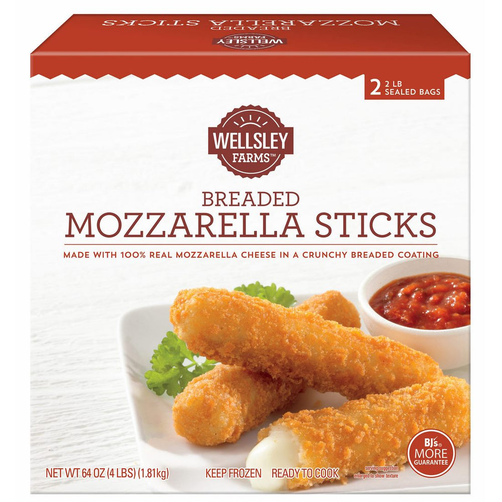 Wellsley Farms Mozzarella Sticks Sealed Bags, 2 x 2 lbs