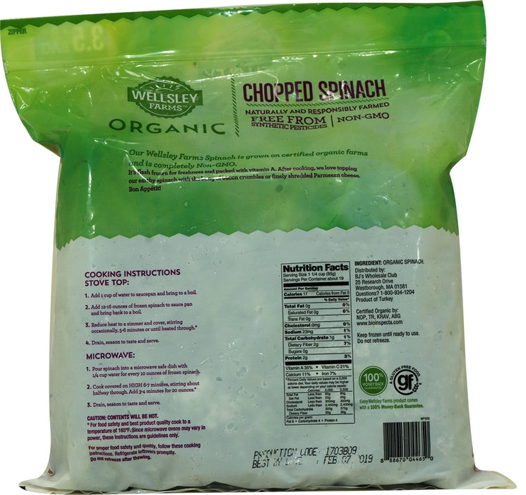 Wellsley Farms Organic Chopped Spinach, 3.5 lbs