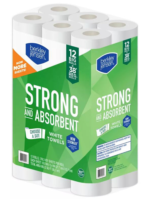 Berkley Jensen Strong And Absorbent White Towels , 12 ct