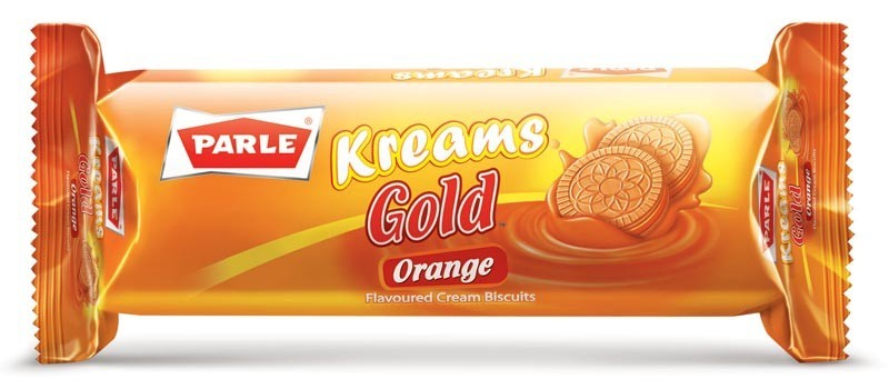 Parle Kreams Gold Orange Flavoured Cream Biscuits, 74.97 gr