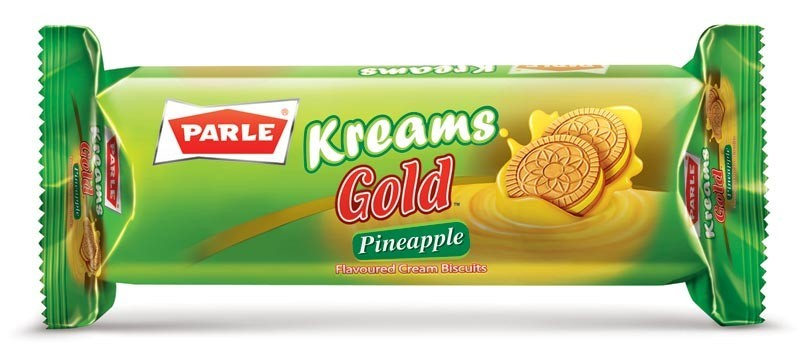 Parle Kreams Gold Pineapple Flavored Cream Biscuits, 70 gr