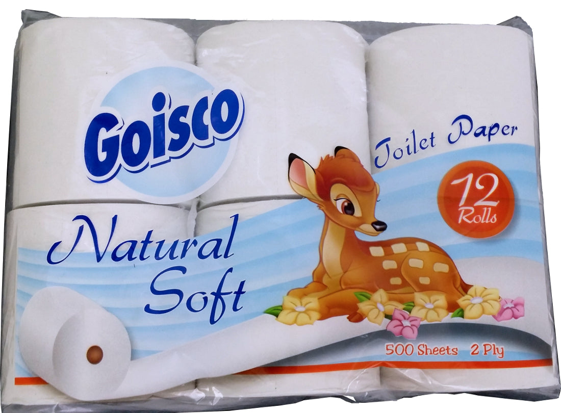 Goisco Natural Soft Toilet Paper, 500 2-ply sheets, 12 rolls