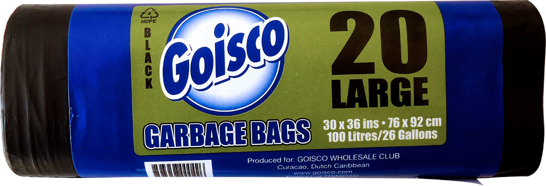 Goisco Large Trash Bags, 26 Gallons, 20 ct