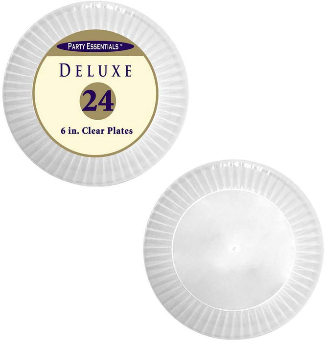 Party Essentials Deluxe Clear Plates, 6 inch, 24 ct