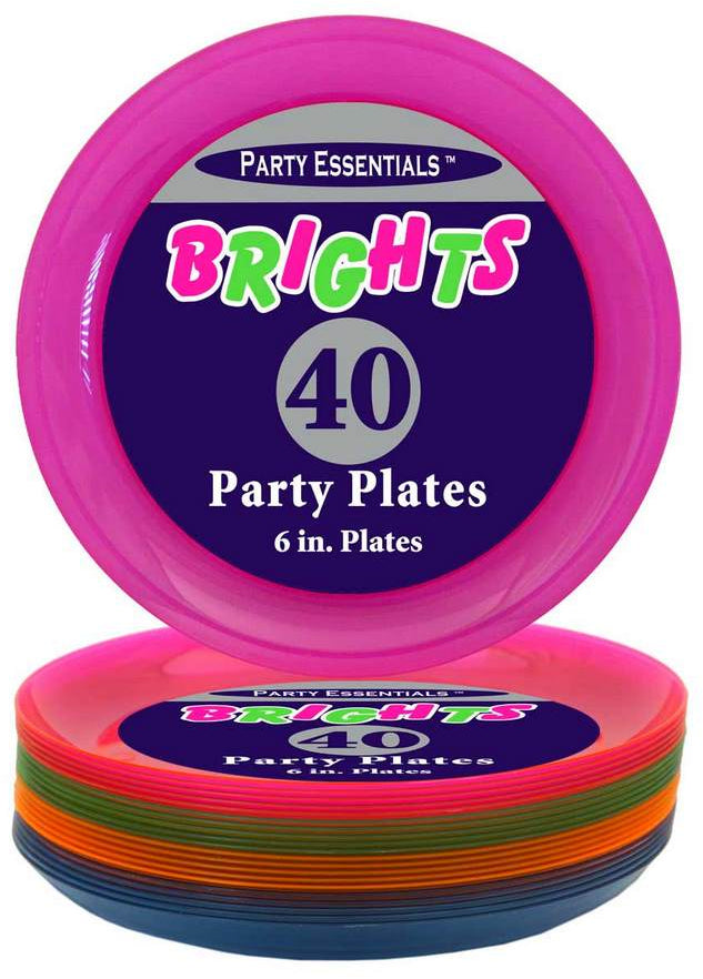 Party Essentials Bright Neon Plates, 6 inch, 40 ct