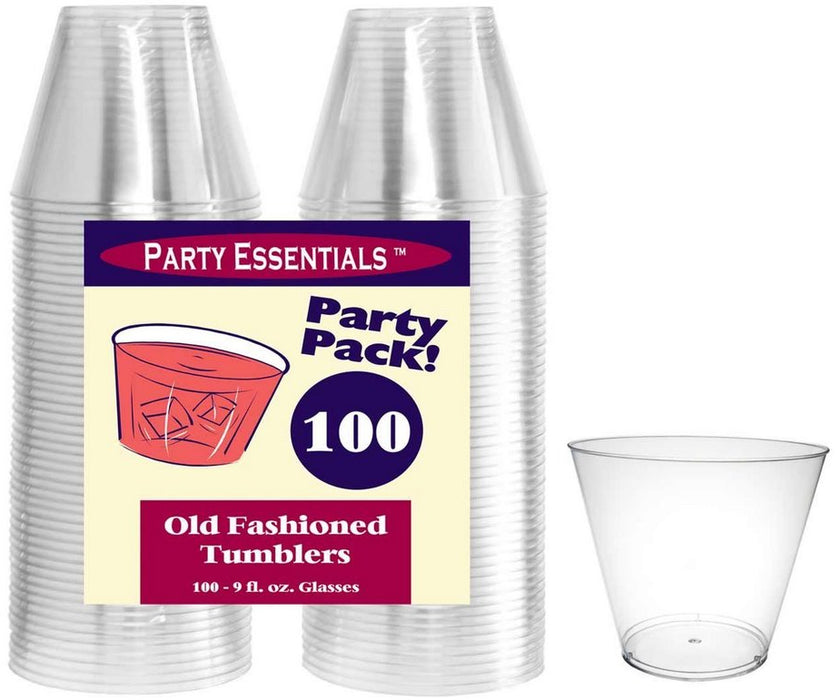 Party Essentials Hard Plastic Tumblers, 9 oz, 100 ct