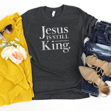Load image into Gallery viewer, Jesus is Still King - YOUTH, Unisex, Dark Grey Heather, Bella + Canvas Tee