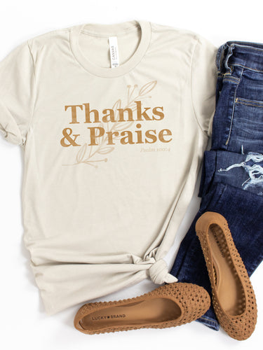 Thanks and Praise in Gold - Heather Dust, Bella + Canvas Tee