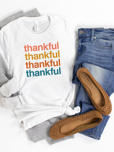 Thankful, Thankful, Thankful - White or Cream, Bella + Canvas Tee
