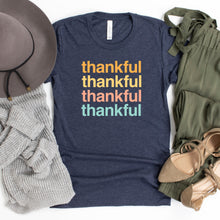 Load image into Gallery viewer, Thankful, Thankful, Thankful - Heather Midnight Navy, Bella + Canvas Tee