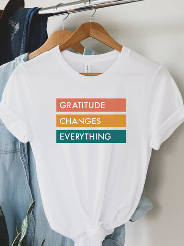 Gratitude Changes Everything - Colorful, Block Design, Bella + Canvas