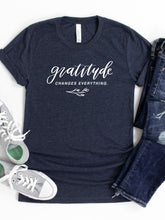 Load image into Gallery viewer, Gratitude Changes Everything - Hand Lettered, Heather Midnight Navy, Bella + Canvas Tee