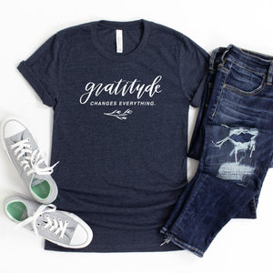 Gratitude Changes Everything - Hand Lettered, Heather Midnight Navy, Bella + Canvas Tee