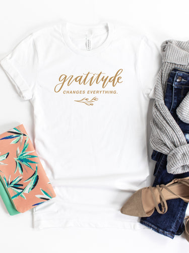 Gratitude Changes Everything - Hand Lettered, White, Bella + Canvas Tee
