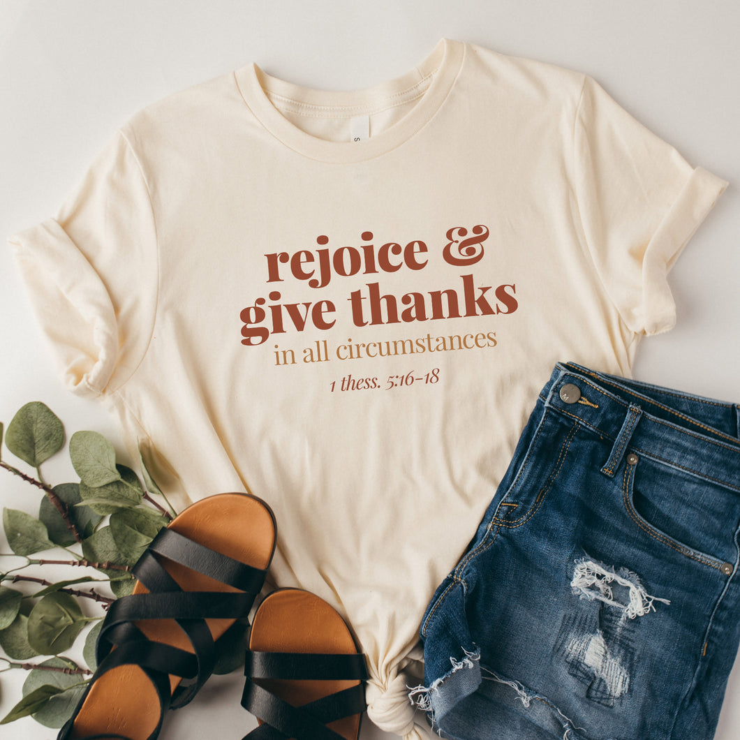 Rejoice and Give Thanks - Soft Cream, Christian Tee