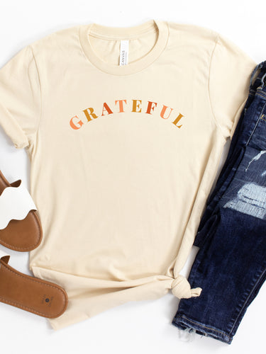 Grateful - Soft Cream or White, Bella + Canvas Tee