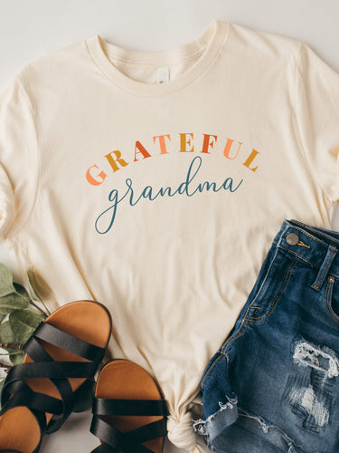 Grateful Grandma - White or Soft Cream Bella and Canvas T-Shirt