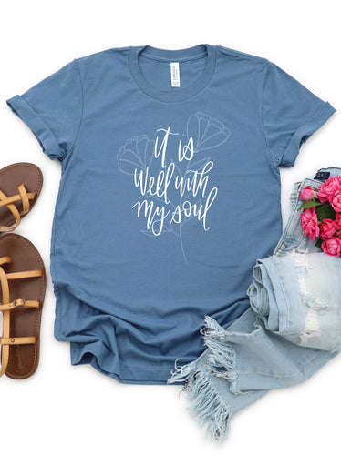 It is Well - Steel Blue Bella + Canvas Tee