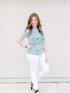 Dusty Blue Christian Tshirt - Consider the Lilies Tee