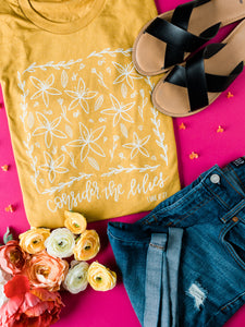 Mustard Yellow Christian Tshirt - Consider the Lilies Tee