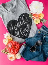 Load image into Gallery viewer, Hand Lettered Christian Tshirt - Walk in Love Dark Heather Grey Tee