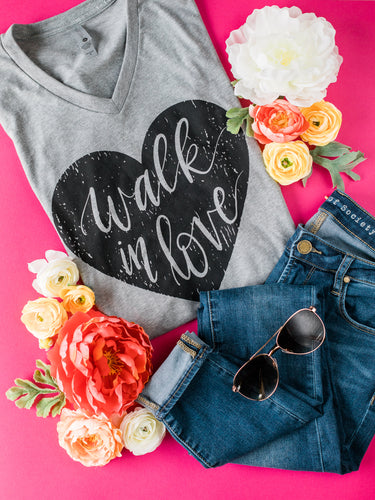 Hand Lettered Christian Tshirt - Walk in Love Dark Heather Grey Tee