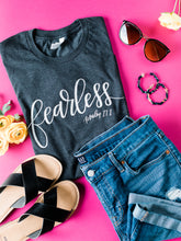 Load image into Gallery viewer, Hand Lettered Christian Tshirt - Fearless Dark Charcoal Gray