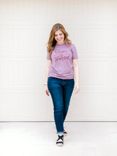 Load image into Gallery viewer, Hand Lettered Christian Tshirt - Bloom Where You are Planted Orchid Tee