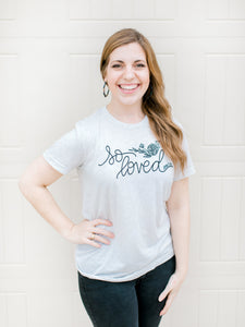 So Loved John 3:16 Hand Lettered Shirt - Oatmeal Triblend
