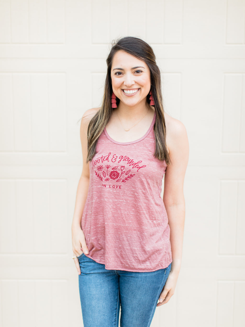 Rooted & Grounded in Love Christian Tank Top - Marble Mauve