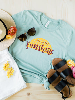 Live in the Sunshine Christian Tee - Prism Dusty Blue