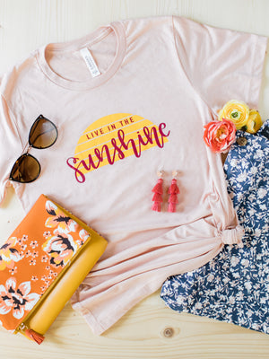 Live in the Sunshine Christian Tee - Heather Peach