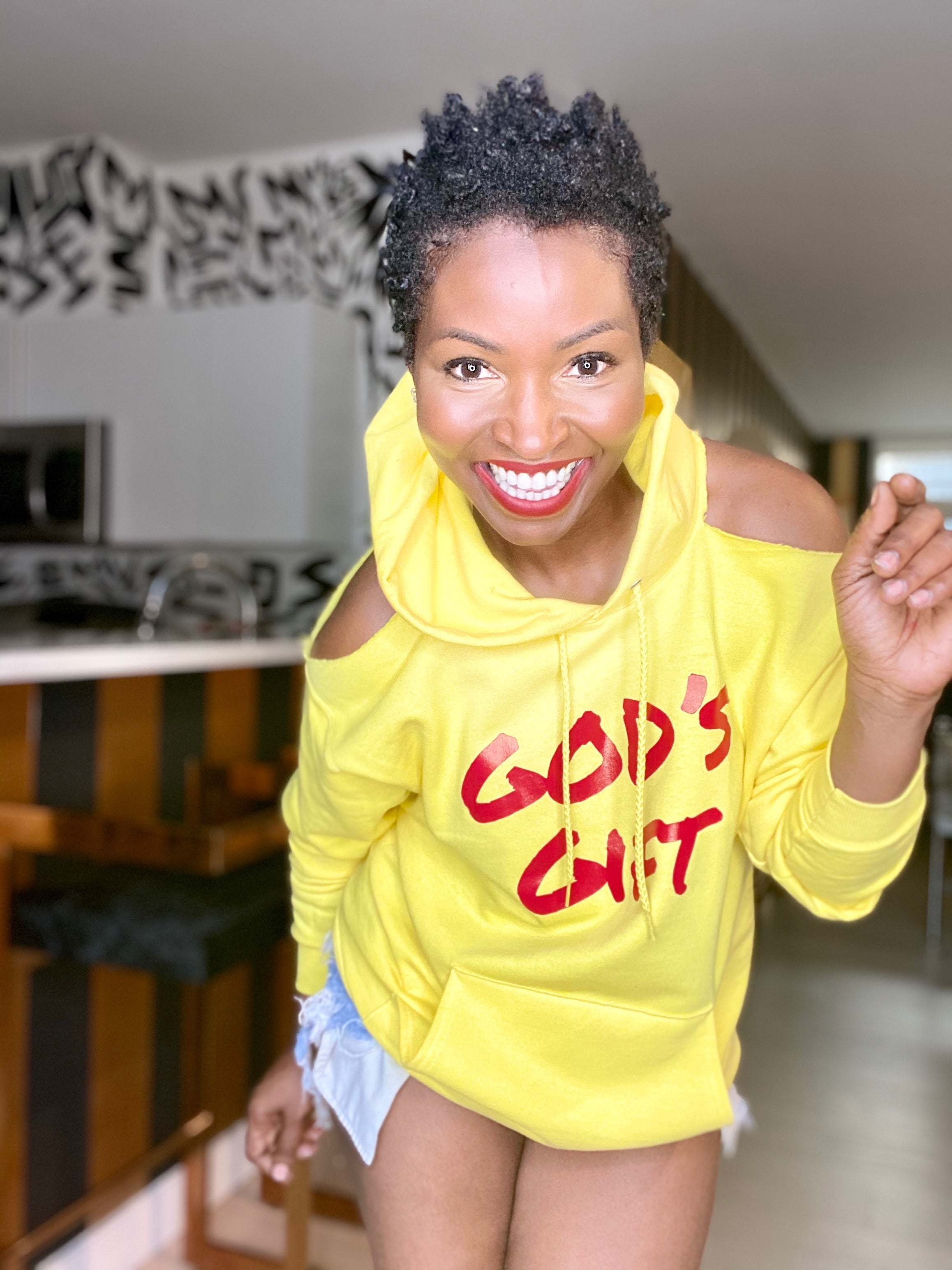 COLD SHOULDER Custom Hoodie GOD'S GIFT (YELLOW)