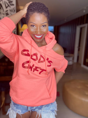 COLD SHOULDER Custom Hoodie GOD'S GIFT (PEACH)