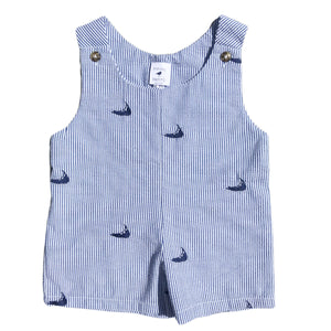 Blue Nantucket Seersucker Baby Romper