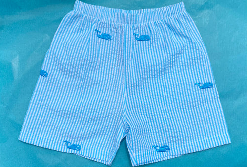 Turquoise Whale Seersucker Shorts
