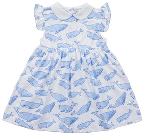 Nellie Dress- Watercolor Whales
