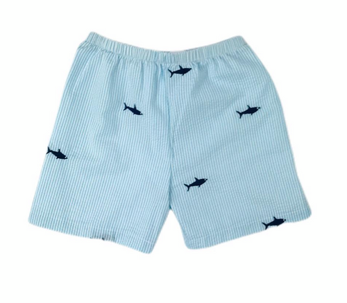 Turquoise Seersucker Shorts with Navy Embroidered Sharks