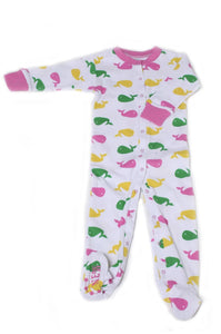 Whale Organic Cotton Footie (Pink)