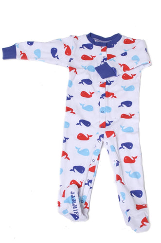 Whale Organic Cotton Footie (Blue)