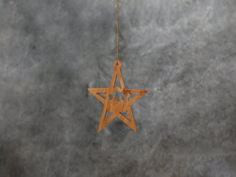 Flat star Ornament - Olive Wood