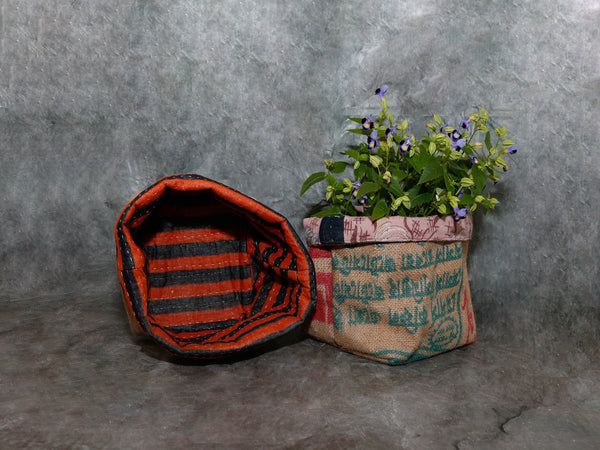 Kantha Burlap Basket Square - Medium