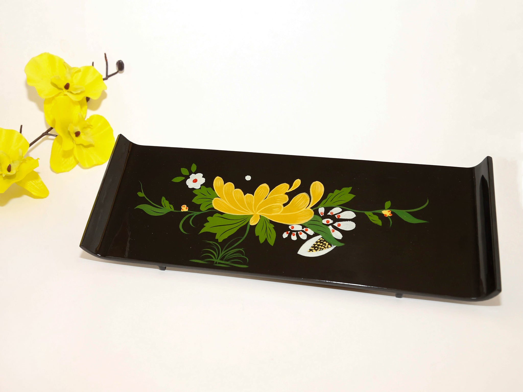 Black Floral Lacquer Serving Tray