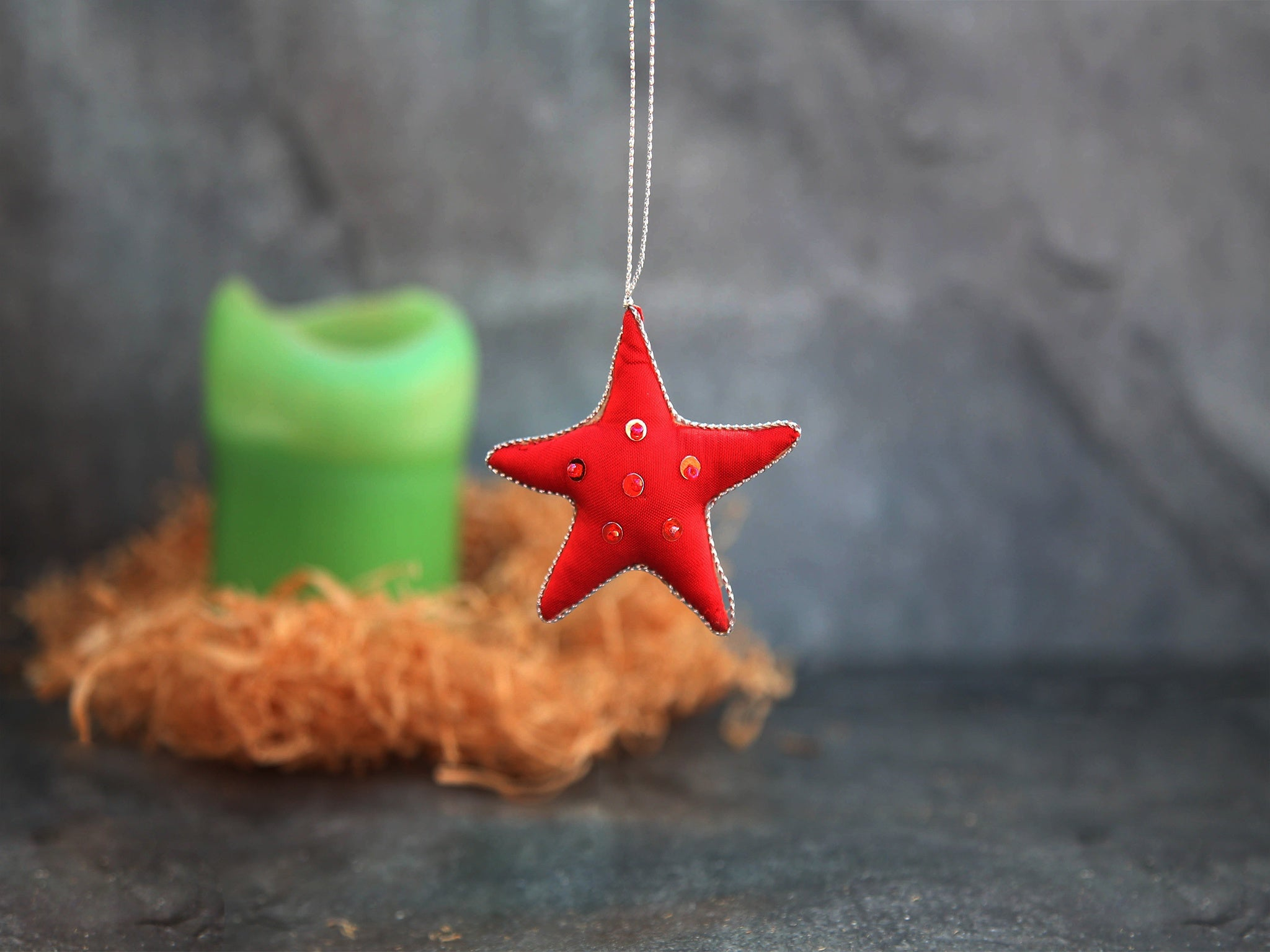 Beaded Star-Red