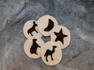 Coaster set of 5,Sheep wool