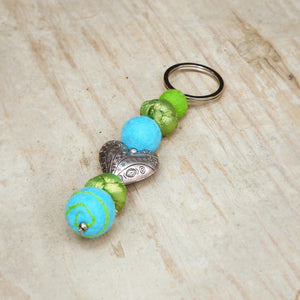 Key Chain, Felt and Silk Light Blue