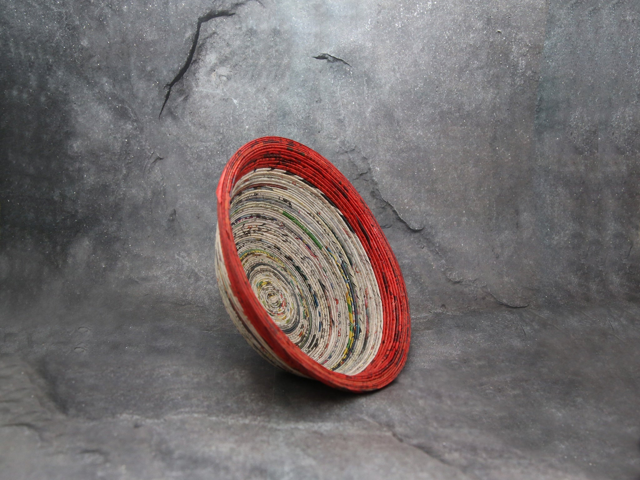 Green-Red bowl with news paper'S' 2.5inchX6